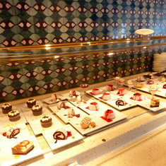 Dessert choices at the Lido Deck Small enough to enjoy two