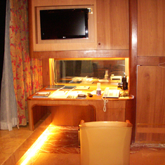 Desk area in Penthouse Suite, aka Pinnacle Suite, Cabin 7001