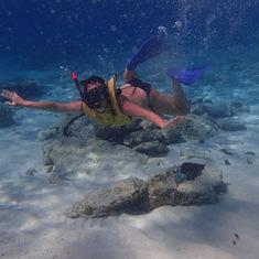 me snorkeling in Cozumel