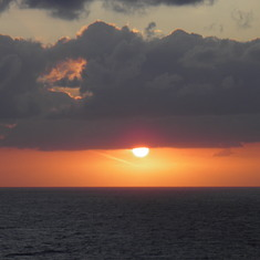 sunset photo from front deck of ship