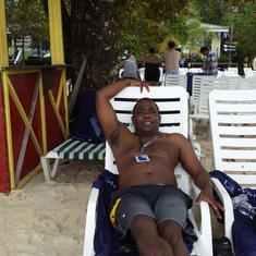 on the beach in Roatan
