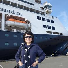 Wife in front of Zaandam in Victoria, B.C.