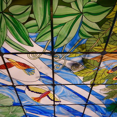 Beautiful ceiling on the ship.