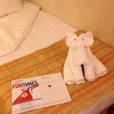 Turned down bed with evening towel animal and FunTimes