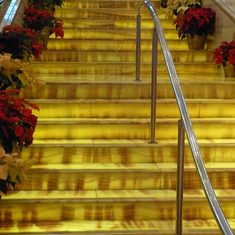 The impressive marble staircase in the Constellation's Grand Foyer.
