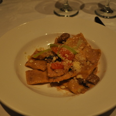 Veal ravioli in dining room on Royal Princess