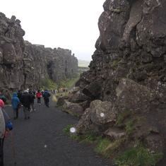 Giant fault, running through the middle Iceland, where West separates from East.