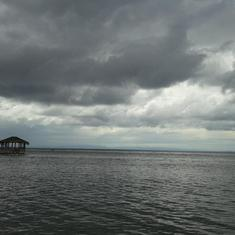Maya Key, Roatan. Skies were ominous but we still had a good time.