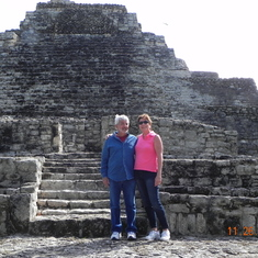 Costa Maya (Mahahual), Mexico - My husband and I enjoying one of the Mayan Temples on our tour in Costa Maya