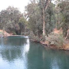 Jordan River--Many tourist baptisms here