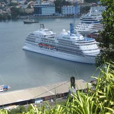 Our Seven Seas Navigator awaiting our return, Tobago
